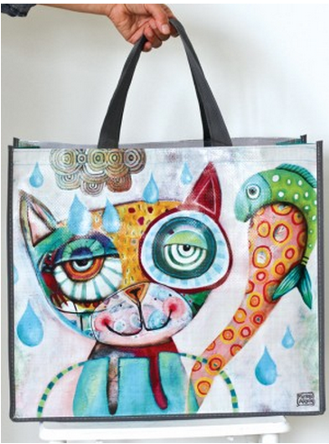 Cat with Fish Shopper Bag