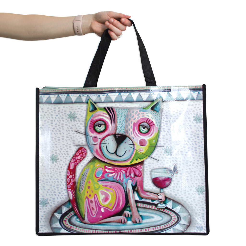 Cat with Wine Glass Reusable Shopper Bag