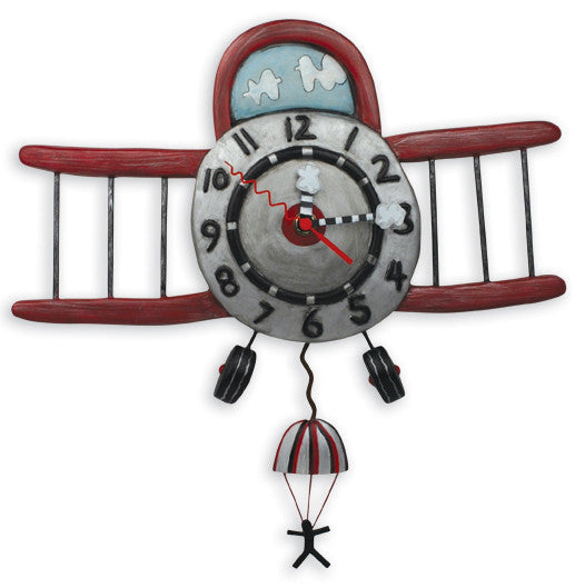 Airplane Jumper Wall Pendulum Clock
