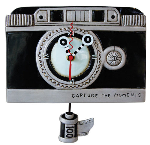 Vintage Camera Pendulum Wall Clock