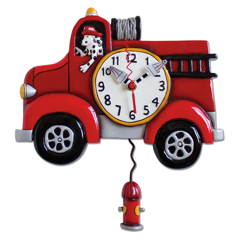 Big Red Firetruck Wall Pendulum Clock