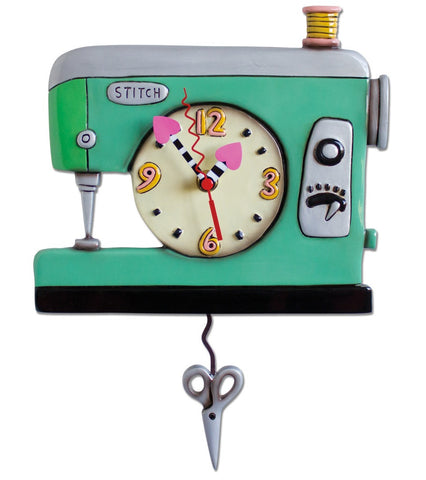 Stitch Sewing Machine Pendulum Wall Clock