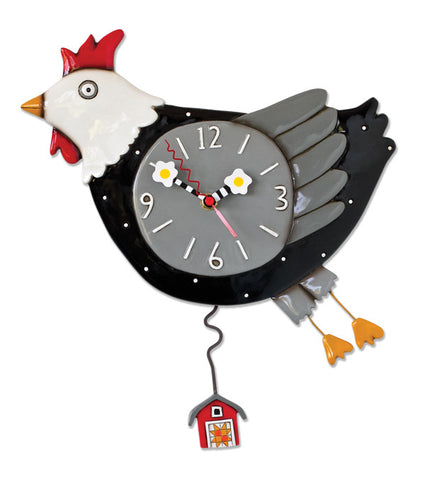 Flew the Coop Chicken Pendulum Wall Clock