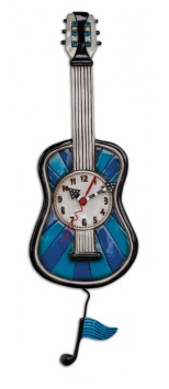 Blue Tune Guitar Wall Pendulum Clock