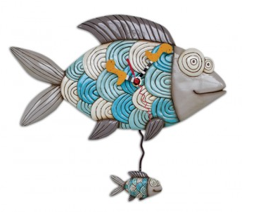 Michael Bubble Fish Pendulum Wall Clock