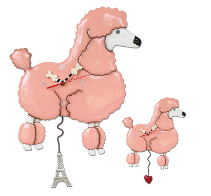Frenchie the Poodle Dog Pendulum Wall Clock