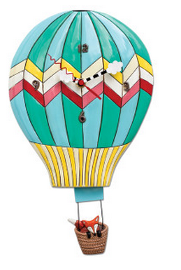 Fox Aloft - Hot Air Balloon Pendulum Wall Clock