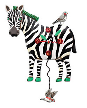 Zeb the Zebra Pendulum Wall Clock