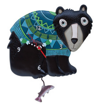 "Black Bear ""Bear Hug"" Wall Pendulum Clock"