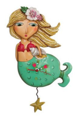 Shelley Mermaid Pendulum Wall Clock