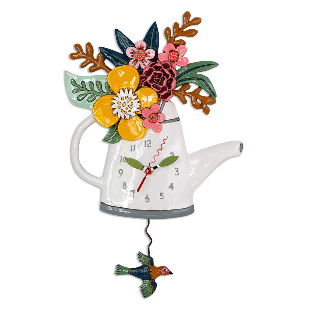 Blossoms Watering Can Pendulum Wall Clock