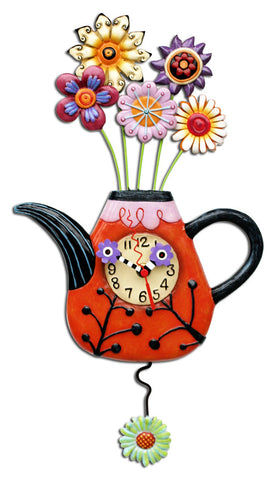 Flower-tea-ful Pendulum Wall Clock