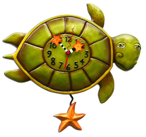 Shelldon Turtle Pendulum Wall Clock