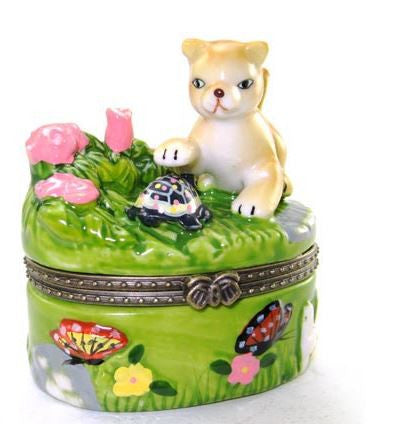 Cat Playing in Garden Ceramic Box
