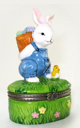 Bunny Carrying Easter Eggs Ceramic Box