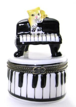 Cat on Piano Ceramic Box