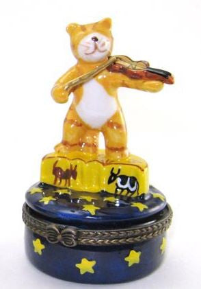Cat Playing Violin Ceramic Box