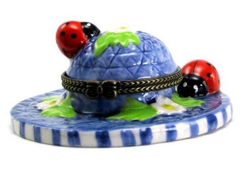 Blue Hat With Lady Bugs Ceramic Box