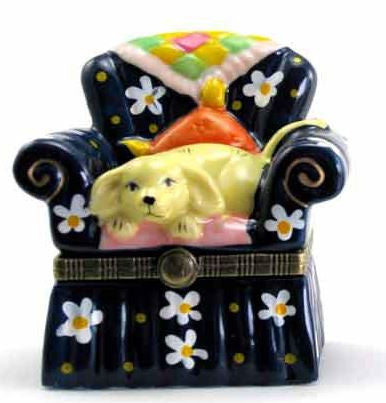 Puppy on a Chair Ceramic Box