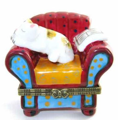 Cat on a Chair Ceramic Box