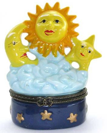 Sun, Moon and Stars Ceramic Box