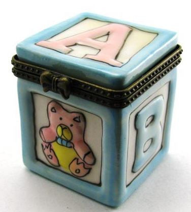 Blue ABC Block Ceramic Box