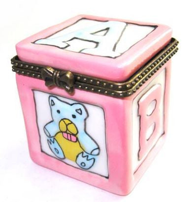 Pink ABC Block Ceramic Box