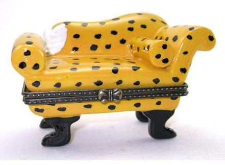 Yellow Couch with Leopard Design Ceramic Box