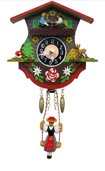 Black Forest Novelty Clock with Swinging Girl and Teeter-Totter