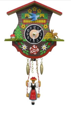Black Forest Novelty Clock with Swinging Girl