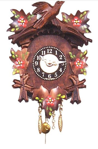 Black Forest Novelty Key-Wound Clock with Bird and Flowers