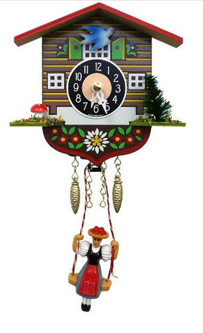 Mini Black Forest Novelty Battery Cuckoo Clock with Swinging Girl