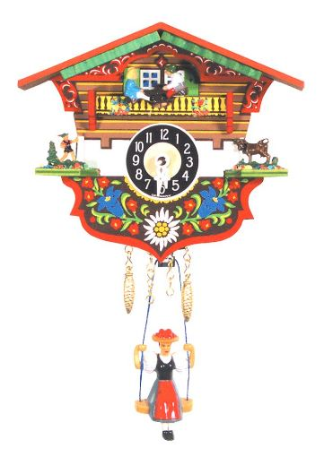 Bright Black Forest Novelty Clock with Swinging Girl and Teeter-Totters
