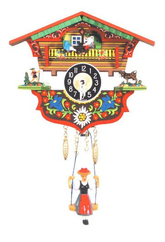 Bright Black Forest Novelty Clock with Swinging Girl and Teeter-Totter
