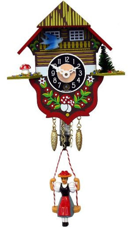 Black Forest Novelty Key-Wound Cuckoo Clock with Bouncing Girl