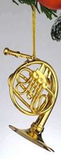 Goldtone French Horn Hanging Decoration