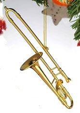 Goldtone Trombone Hanging Decoration