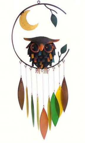 Spikey Owl with Moon Sea-Glass Wind Chime