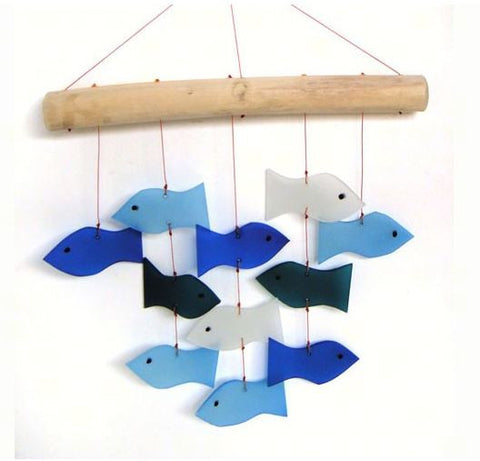 Fish & Driftwood Sea-Glass Wind Chime