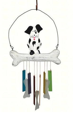Wood and Sea-Glass Dog Wind Chime