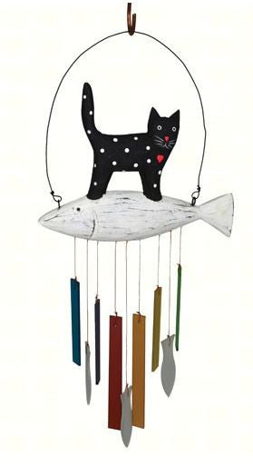Wood and Sea-Glass Cat Wind Chime