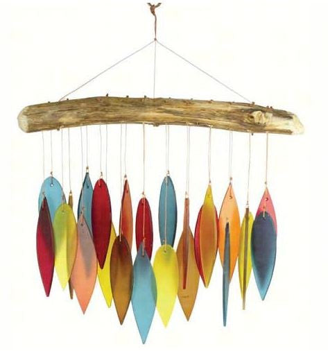 Santa Fe Colors Sea-Glass Leaves & Driftwood Wind Chime