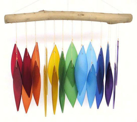 Rainbow & Driftwood Sea-Glass Wind Chime