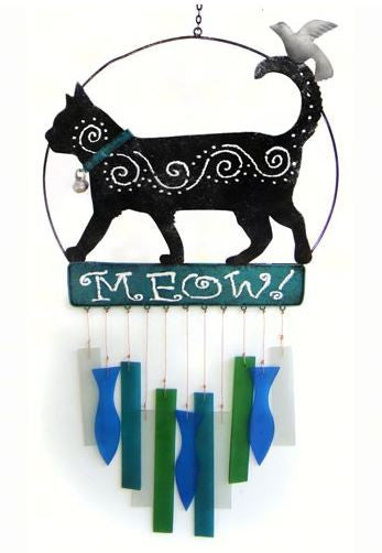 Kittie Meow Sea-Glass Wind Chime