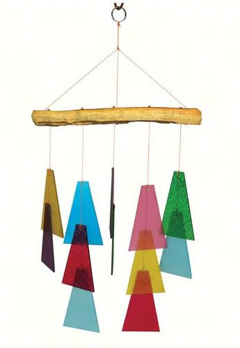Recycled Dirft Wood & Sea-Glass Trapezoid Wind Chime