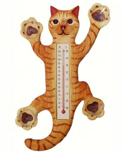 Climbing Orange Tabby Cat Small Window Thermometer