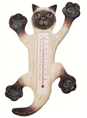 Climbing Siamese Cat Small Window Thermometer