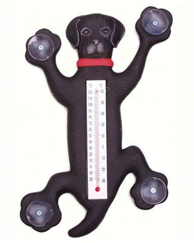 Climbing Black Lab Small Window Thermometer