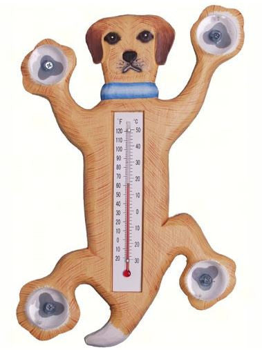 Climbing Yellow Lab Small Window Thermometer