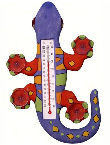 Climbing Purple, Orange & Green Gecko Small Window Thermometer